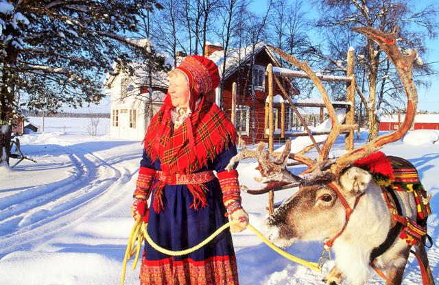 Sami woman, Finland. Santa Claus trips, Rovaniemi tours