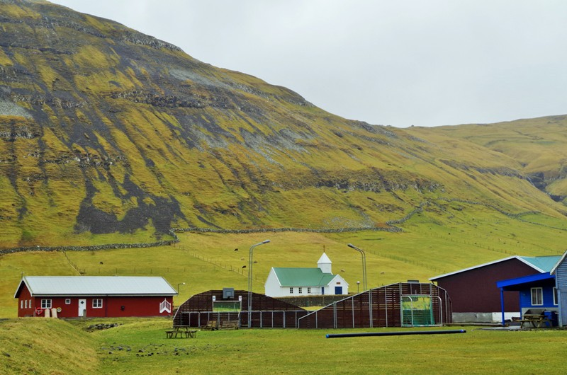 The football pitch in Dalur, the Sandoy Island. The Faroes - Hit The Road Travel